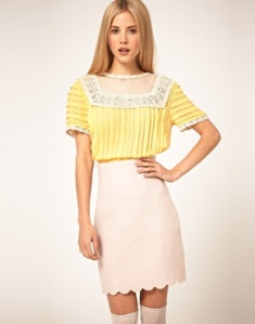 ASOS Blouse With Pleating And Lace Yoke, $71.62. Photo: asos.com