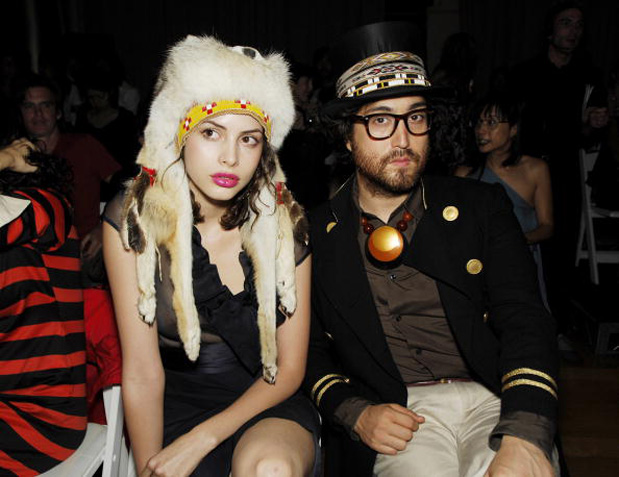 Sean Lennon and his amazingly beautiful gerlfrën, Charlotte Kemp Muhl, wearing festive hats. Photo via freethewildflower.blogspot.com
