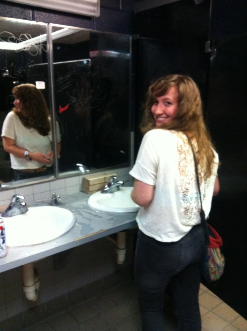 Kate's backside was all the rage in the ladies bathroom